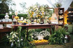 Mesa de doces - Casamento ao ar livre