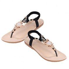 Black Owl Thong Sandals