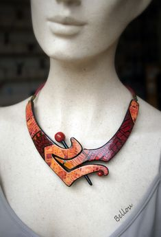 Ceramic Jewelry, Clay Jewelry, Funky Jewelry, Jewlery, Collar Necklace, Diy Ideas, Polymer Clay, Images, Jewelry Design