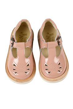 Rosie T-Bar Shoes in Blush Pink Patent | Young Soles