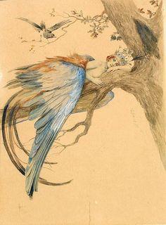 Bird Art-Царевна - птица, Vintage Russian Postcard, Blue Bird (Bird Sirin)- Mythical Russian Bird- artist Sergey Solomko (1867-1928)