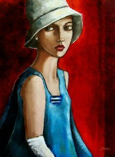 Amelia by Jennifer Yoswa. I like the bold colors, & the simple outlining. Art And Illustration, Woman Painting, Painting & Drawing, Art Visage, People Art, Portrait Art, Face Art, Painting Inspiration, Art Photography