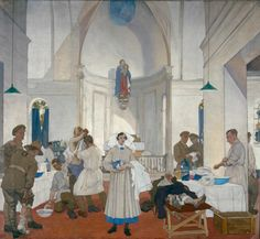 Gerald Moira, No. 3 Canadian Stationary Hospital at Doullens. Oil on canvas, 1918.  Central panel of the triptych.