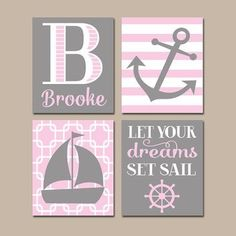NAUTICAL Nursery Wall Art, CANVAS Or Prints, Baby Girl Nursery Artwork,  Pink Gray