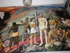 Murales en el Palacio de Gobierno de Chihuahua, México, obra del Mtro. Aarón Piña Mora (Imagen del viaje del Mtro. Cristóbal Flores a la ciudad de Chihuahua)