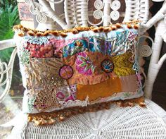 Boho Creek Chic Pillow, Silk Patchwork, Beaded Buttons, Bohemian, Gypsy, Home Decor, Cushion via Etsy