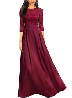 6d434309cc Miusol Women s Retro Floral Lace Halter Ruched Wedding Maxi Dress