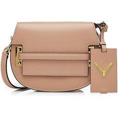 Valentino My Rockstud Leather Shoulder Bag ($2,059) ❤ liked on Polyvore featuring bags, handbags, shoulder bags, accessories, valentino, camel, man shoulder bag, leather hand bags, hand bags and beige leather handbag