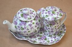 #Staffordshire bone china  #violets  5pc  tea set #england,  View more on the LINK: http://www.zeppy.io/product/gb/2/172174985854/