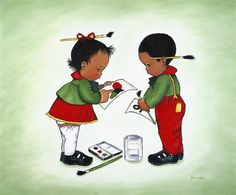African American Art Print Children Painting Learning Young Cultural Art Symbol Children's Room Deco African Symbol Painting boy girl Art
