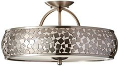 Murray Feiss SF305BS Zara 3 Light Semi-Flush Ceiling Fixture with Silver Organza and Mirror Mosaic Sh, Brushed Steel Murray Feiss
