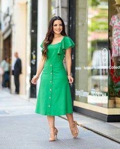 Fashion dresses - Verde 💜 ( Fazer Nesse Modelo e Cor ) Modest Dresses, Simple Dresses, Elegant Dresses, Pretty Dresses, Sexy Dresses, Casual Dresses, Fashion Dresses, Dresses For Work, Summer Dresses