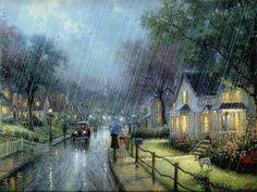 Nostalgic, rainy painting by Thomas Kinkade.