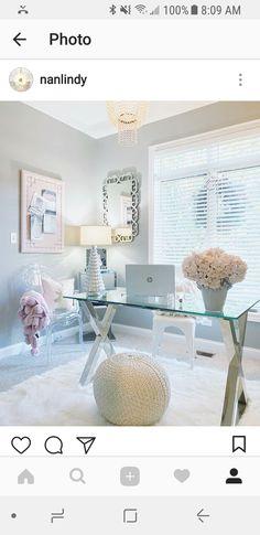 55 Ingenious Home Office Desk Ideas and Designs — RenoGuide – Australian Renovation Ideas and Inspiration – Chic Home Office Design Home Office Space, Home Office Desks, Glass Office Desk, Small Office, Office Lamp, Glass Desk, Apartment Chic, Home Office Organization, Organization Ideas