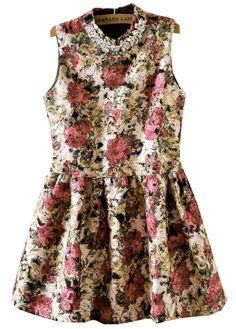 robe vase motif floral rouge 000