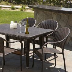 Christopher Knight Home Zumba PE Wicker 7-piece Outdoor Dining Set