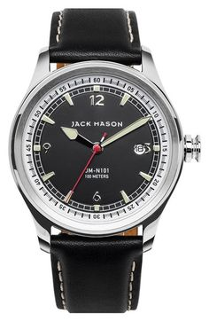 Jack Mason Brand Nautical Leather Strap Watch, 42mm available at #Nordstrom