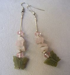 Charming dangle earrings with green jade butterflies by creatodame