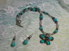 Turquoise+Gray+and+Silver+Butterfly+Pendant+by+Alisonsjewelryshop,+$21.98