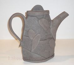 Slab quilting textured clay patch work teapot and many other examples of hand-building