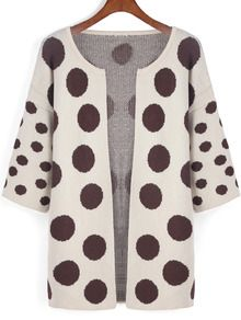 Apricot Black Polka Dot Sweater Coat