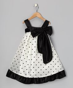 Take a look at this Black Polka Dot Bow Dress on zulily today!