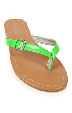 thong sandal with stone buckle