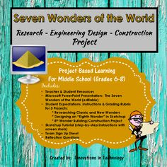 """7 Wonders of the World Research ~ Engineering Design ~ Construction Project. In this lesson, students learn more about both the classic Seven Wonders of the World and the """"new"""" Seven Wonders project as they research the history, design and engineering of the wonders. The lesson starts with a whole class Microsoft PowerPoint presentation (editable) to view the Wonders and start discussion. Next, students choose one of the classic and one of the """"new"""" Wonders to research further and create a…"""