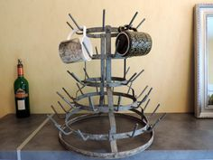 French Vintage Metal Bottle Drying Rack by SouvenirsdeVoyages