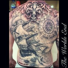 Awesome nautical backpiece by Nico Dray . The Worlds End Tattoo - @nicodray