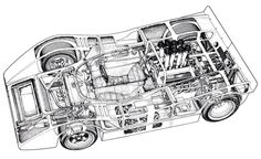 McLaren M8A Chev cutaway drawing. Specs as per text above. An incredible successful series of cars, the M8 family; M8A, M8B, M8D and M8F won the CanAm title in 1968-'71 respectively. (unattributed)