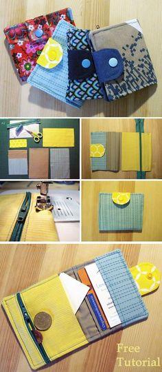 Mini Card Wallet + Sewing Tutorial + Free Pattern http://www.free-tutorial.net/2018/05/small-wallet-tutorial.html