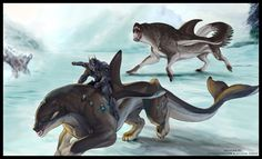 In Inuit mythology, Akhlut is a spirit that takes the form of both a wolf and an orca. It is a vicious, dangerous beast. Its tracks can be recognized because they are wolf tracks that lead to and from the ocean. Often, dogs seen walking to the ocean and/or into it are considered evil. Little is known of this spirit, other than that it changes from an orca to a wolf when hungry, not many myths relate to it.