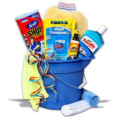 """car wash basket. My father in-law loves to wash his cars...He is one of the """"what do you get a man that has everything"""" people. This is what we do!"""