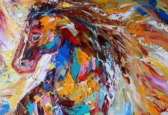 Original oil painting Horse Play Palette knife von Karensfineart