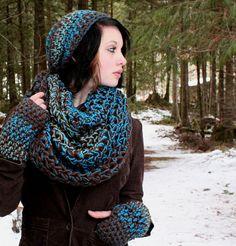For Robs SET WATER Rasta Love Cowl Hood Vegan scarf by BessetteArt, $52.00