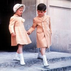 Princess Anne and Prince Charles in 1954. See the full history of royal babies and their chubby cheeks.