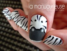 La Manucurieuse : Zebra Nails so want these for eds awareness month! Get Nails, Love Nails, How To Do Nails, Pretty Nails, Hair And Nails, Style Nails, Nail Polish Designs, Nail Art Designs, Jolie Nail Art