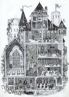 (And yes I know it's not architecturally correct :P) - cross-section daigram, Bohemian Weasel -- Hogwarts cross-section by Soni Alcorn-Hender! Fanart Harry Potter, Arte Do Harry Potter, Theme Harry Potter, Harry Potter Drawings, Harry Potter Love, Harry Potter Universal, Harry Potter Fandom, Harry Potter World, Harry Potter Outfits
