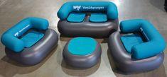 """Bieten Sie Ihren Kunden die Möglichkeit auf Ihrem Messestand zu verweilen und mit Ihnen ins Gespräch zu kommen. Die no problaim Chillout Möbel sind """"Pneu Möbel"""". Das heißt sie sind aufblasbar und luftdicht. Diese  aufblasbaren Messemöbel werden in Kleinserie aus robuster PVC Folie vorproduziert und sind als Single Chair, Double Chair und Table erhältlich. Die Oberfläche hat eine hübsche kunstlederartige Prägung und der Bodenbereich ist nochmals verstärkt ausgeführt."""