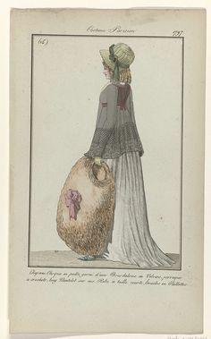 Anonymous | Journal des Dames et des Modes, Costume Parisien, 17 décembre 1797, (15 (bis)) : Chapeau-Casque..., Anonymous, Sellèque, Pierre de la Mésangère, 1797 | 'Chapeau- Casque en paille', strohoed versierd met een hoedenlint van fluweel, met gesp. Pruik met pijpenkrullen. Lange doorzichtige mantelet op een japon met hoge taille. Verdere accessoires: handschoen, grote mof van bont met strik, platte schoen met puntige neus en vierkante gesp met pailletten. De prent maakt deel uit van het…