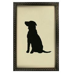 Silhouette Black Labrador Dog Art Print // Needs to be printed on linen/aged paper
