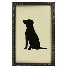 Silhouette Black Labrador Dog Art Print