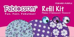 Create beautiful fabric flowers with Fablossom! Refill Kits in Purple are available! #Fablossom