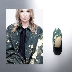 bleached #armygreen #nails inspired by #katemoss in #rafsimons x #sterlingruby for @anothermagazine