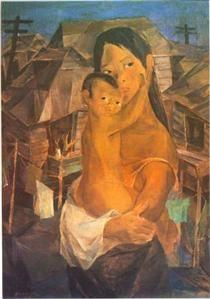 Madonna of the Slums Artist: Vicente Manansala 1950 (a Filipino cubist painter and illustrator. Filipino Art, Filipino Culture, Philippine Art, Popular Paintings, Character Wallpaper, European Paintings, Slums, Cubism, Illustrations