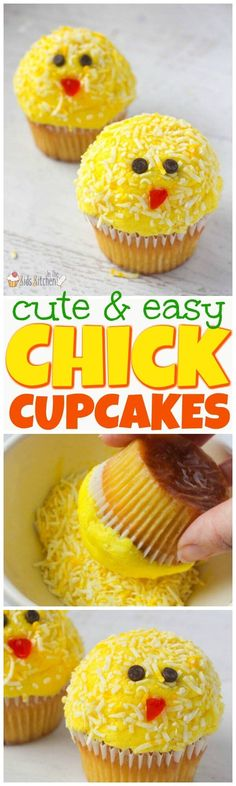 These cute and cheerful Easter Chick Cupcakes are guaranteed to brighten anyone's day! Easy dessert recipe perfect to make with kids.