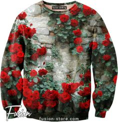Sexy Sweater with roses on the brick wall print.   Make a custom order with your favorite image here http://fusion-store.com/shop/sexy-sweaters/custom-order.html  #fusionclothing #sexysweater #fsnclothing #sexysweaters #sweatshirt #street