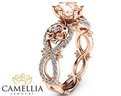 Peach Pink Morganite Engagement Ring Set Unique by CamelliaJewelry