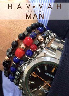 pulseiras homens pedras tendência